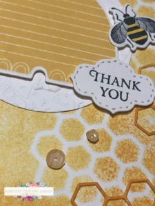 Honey Bee Thank You close up of hive and sequins